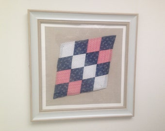at angles red white and blue antique hand stitched quilt square professionally float matted and framed 22 x 22