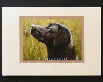 Labrador Retriever Dog Portrait Hand Made Greetings Card. From an Original Painting by JOHN SILVER. GCBL001