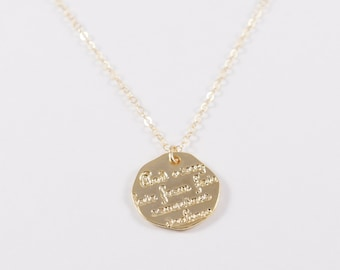 Dainty 14k Gold Filled Minimalist Necklace / Coin Charm Textured / Text / ThinChain / Minimalistic Disc Pendant Charm