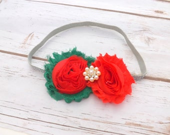 Girls christmas red and green shabby chic headband, silver glitter headband, hair accessories, christmas gift, photo prop, UK seller