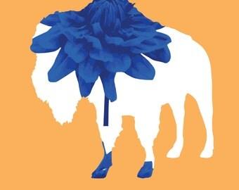 Buffalo NY Flower Digital Print - Buffalo, NY Print - Orange and Blue Buffalo Flower Print -  5x7