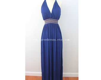 Navy Blue Maxi Dress with Boho Accent Waistline