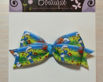 Boutique Style Hair Bow - Smurfs