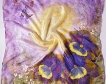 """Hand painted Silk scarf 'Violets"""". Hand Painted Silk Scarf.Violet scarf, flower scarf,purple scarf.Made to orderHandmade Scarves.Batik Shawl"""