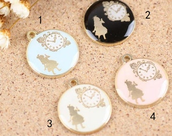 10 pcs of antique gold  girl and clock drop oil charm pendants 20x24mm