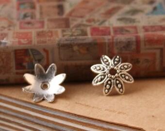 Silver Bead Caps -50pcs antique silver Mini Bead Cap Charms Findings 13mm
