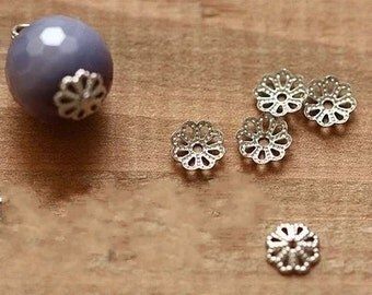 Silver Bead Caps -300pcs antique silver or gold Mini Bead Cap Charms Findings 9mm