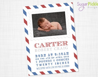 Birth Announcement, Special Delivery birth announcement, 5x7, Baby Announcement, new baby card, Birth announcement card, Printable