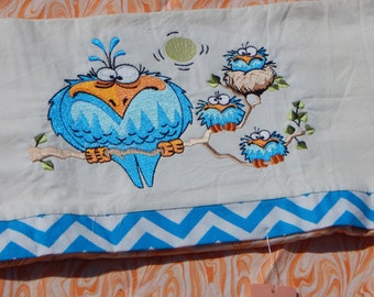 Crazy Owls Embroidered Pillowcases (set)