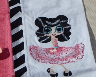 Dancing 50's Girl Embroidered Pillowcase