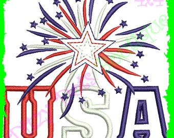 USA Fireworks, 4th of July Applique, Machine Embroidery Design