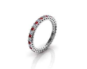 0.50 CT. Diamond & Ruby Eternity Ring With Open Gallery