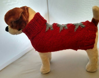 Custom knit dog sweater with knit-in stars.