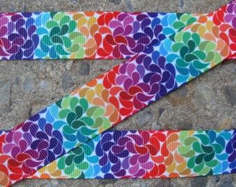 """3 yards Rainbow ribbon Grosgrain ribbon Color Ribbon Printed Ribbon 7/8"""" ribbon hair bow supplies"""