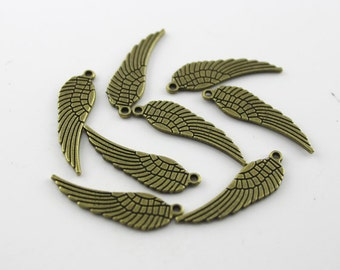 25 pcs 9x30mm Antique bronze Angel Wing Pendants