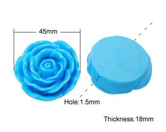45mm Deep Sky Blue Resin Flower Pendant Chunky Beads