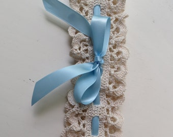 Bridal Garter, Wedding Garter, Crochet Garter, Crochet Wedding Garter, Something Blue Bridal Garter, Handmade Crochet Bridal Acessory