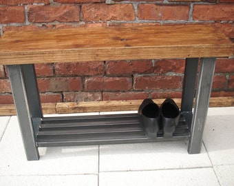 Hallway bench with shoe storage shelf to base in wood & metal rustic industrial style
