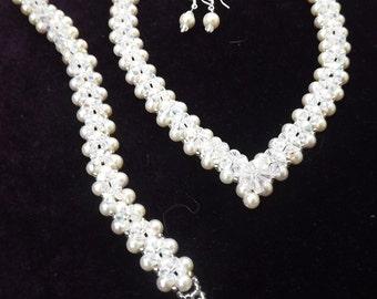 Handmade Bridal Jewellery Set Necklace Bracelet Preciosa Crystal & Pearl Bride Prom Wedding Gift