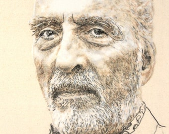 Original hand-drawn portrait of Christopher Lee, in charcoal and pastel on calico