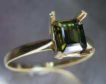 1.20ctc Natural Rare Kornerupine pleochroic three colours green brown engagement ring 9Carat .375 yellow gold all sizes