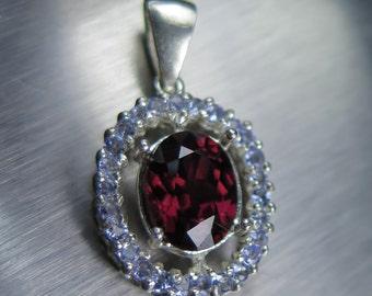 3.10ct Natural red zircon & purple blue tanzanites pendant Sterling 925 Silver
