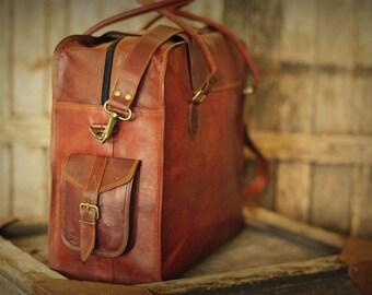 """Cabin Travel Bag 20"""" / Brown Leather Bag / Leather Retro Messenger / Hip Bag / Shoulder Bag / Carry Bag / Travel Bag"""