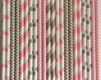 Paper Straws (50) Light Pink & Grey Stripe,Chevron,Dot Paper Straws,Mason Jars Straws,Rustic Wedding,Princess Birthday, Bridal Baby Shower