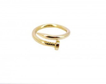 """Ring chart nail """"So Strong"""" in vermeil"""