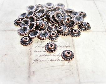 6 Antique Copper Bead Caps Cog Wheel Style 8mm