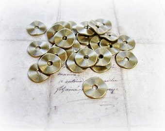 10 x Antique Bronze Plain Wavy Disc Spacer Beads