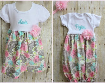 Big Sister Little Sister Dresses - Baby Announcement Dress - Aqua & Pink Paisley - Baby Shower Gift - With Headband