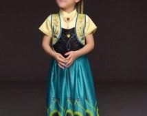 New Toddler Girl Character Inspired Anna Frozen Fever Costume Birthday Dress