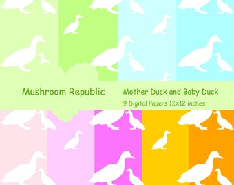 Mother Duck and Baby Duck Digital Paper MP-025