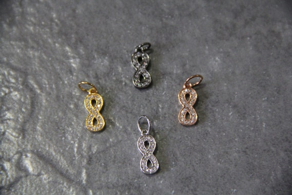 CZ Micro Pave 6x13mm Infinity  Charm with Jump Ring