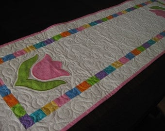 Pink Tulips Quilted Table Runner