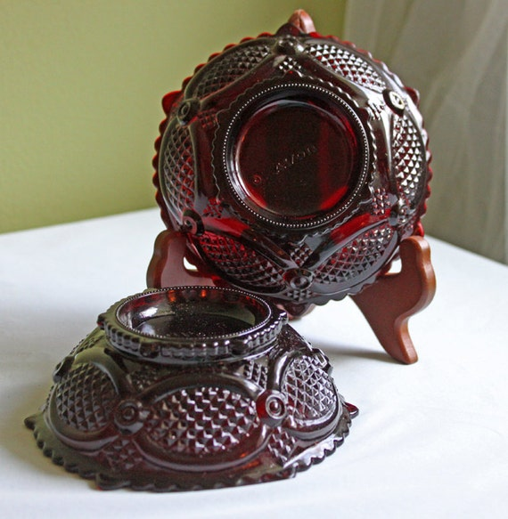 Avon Cape Cod Collection. Ruby Pressed Glass Berry Bowls Or