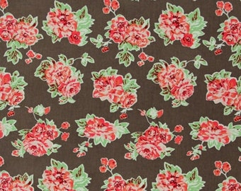 QB46-Cotton Pinwale Corduroy,21 WALES,Floral Printing in Brown, Autumn/Spring Clothing Fabric for Coat, Pants,Jacket, by 1/2 Yard Cut