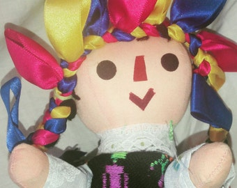 12 inch Jointed Cloth Doll Made in Mexico