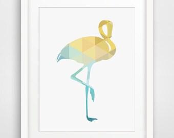 Yellow Decor, Flamingo Decor, Turquoise Art, Home Decor, Summer Decor, Beach Decor, Turquoise Home Decor, Mustard Yellow Art
