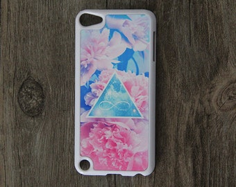 Pink Floral infinity love iPod Touch 5 case and iPod Touch 4 Case,iTouch 5/4 Rubber Case