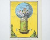 Hot Air Balloon Illustration Color Book Plate, De Rozier & Romain, French Aeronauts, 1784, Combination Hydrogen, Vintage 1972 Art Print