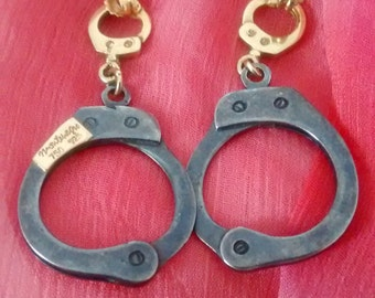 Handcuffs Sterling Silver 925 and 18k gold earrings
