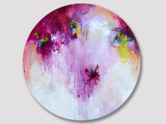 Round Purple And White Abstract Painting: Original Abstract Round Painting Abstract Art Round One Of A