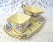 Vintage Art Deco Royal Winton Hand Painted Sugar and Cream Set with Tray
