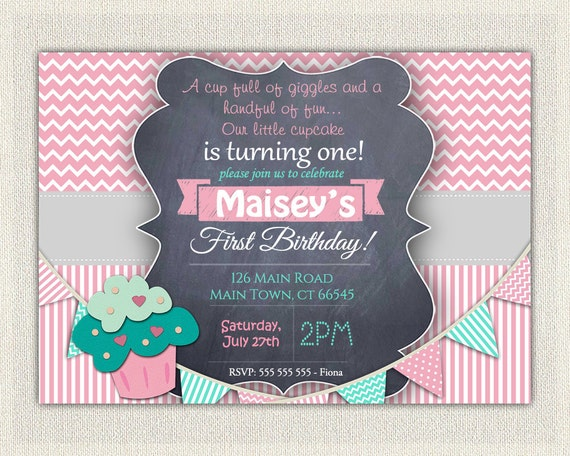 Girls St Birthday Invitation First Birthday Cupcake Invitation - Digital first birthday invitation