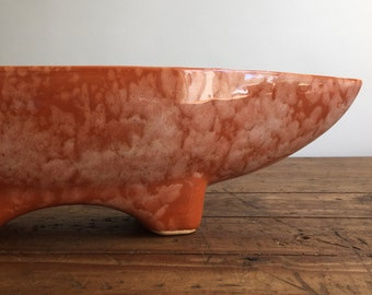 Mid century Modern Orange Mottled Planter, California Pottery