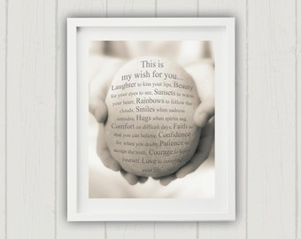 My Wish For You Print, Friendship Print, Inspirational Art Print, Best Friend Print, Gift for Her, Typography Print - My Wish