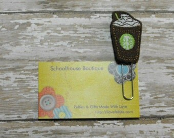 Double Chocolate Frappe Coffee felt paperclip bookmark, felt bookmark, paperclip bookmark, feltie paperclip, christmas gift, teacher gift