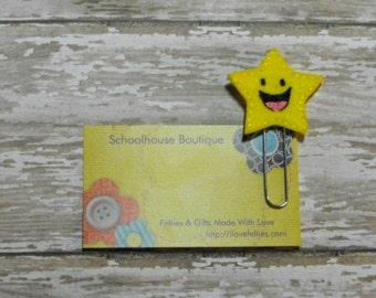 Smiling Star felt paperclip bookmark, felt bookmark, paperclip bookmark, feltie paperclip, christmas gift, teacher gift